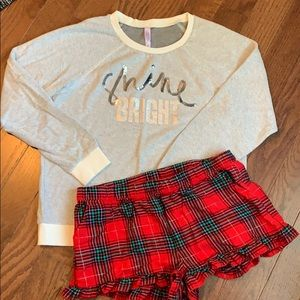 Women's PJ set- sweatshirt and shorts. Medium